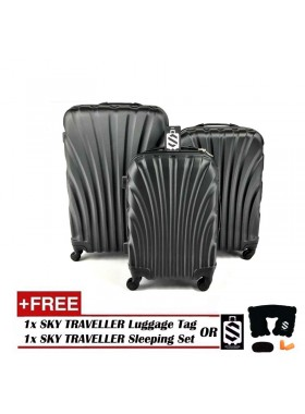 3-In-1 Hard Case Shell Curve Shape Luggage - Black