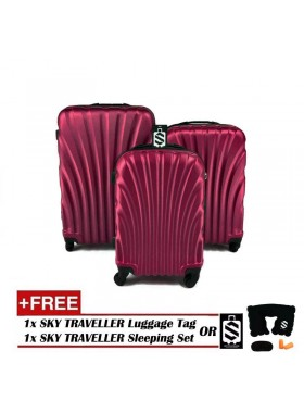 3-In-1 Hard Case Shell Curve Shape Luggage - Maroon