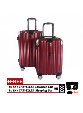 2-in-1 Premium 002 Universal Wheels Luggage - Red