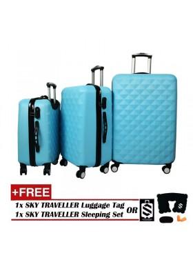 3-In-1 Hard Case Diamond Luggage - Light Blue