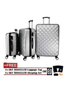 3-In-1 Hard Case Diamond Luggage - Silver