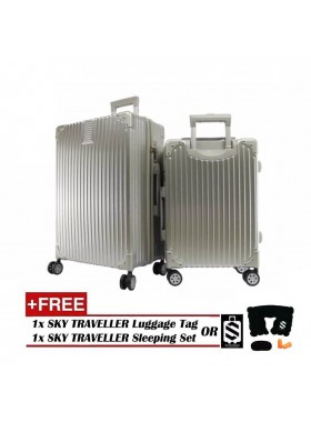 2-In-1 Esquisite Classical Luggage Set - Silver