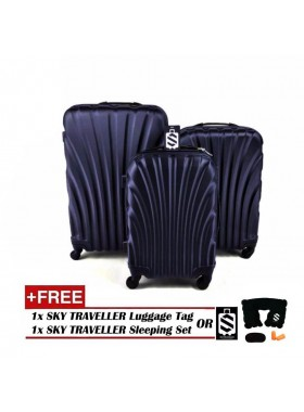 3-In-1 Hard Case Shell Curve Shape Luggage - Dark Blue