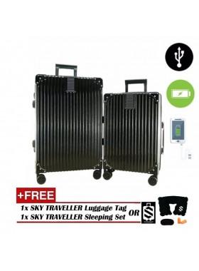 2-In-1 Aluminium Frame Classical Luggage Set - Black