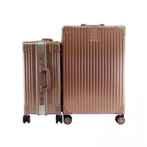 2-In-1 Aluminium Frame Classical Luggage Set - Rose Gold