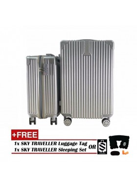 2-In-1 Premium Ultralight Vintage Style Luggage Set - Silver