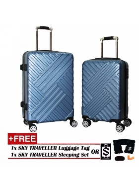 Premium Elegant Striped ABS+PC Luggage With 8 Wheels Spinner - Black