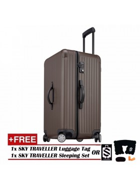 Vogue Oversize Luggage Spinner Rolling With 8 Wheels (28Inch) - Brown