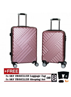 Premium Elegant Striped ABS+PC Luggage With 8 Wheels Spinner (20Inch+24Inch) - RoseGold