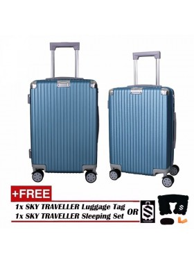 Portrait Stripe Luggage Rolling Luggage Spinner Travel Suitcase With Protect Cover 20Inch - Blue
