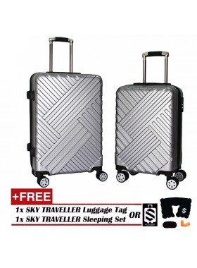 Premium Elegant Striped ABS+PC Luggage With 8 Wheels Spinner - Silver