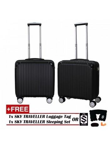 Retro Trolley Case Boarding Box Trunk Box Ultra-light Luggage Password Lock 18Inch - Black