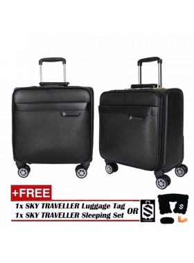 Vintage Leather Elegant Trolley Case Business Bag Luggage 16Inch - Black