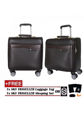 Vintage Leather Elegant Trolley Case Business Bag Luggage 16Inch - Brown