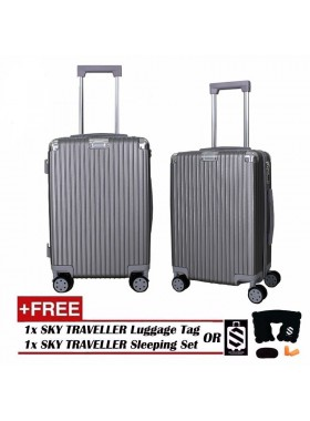 Portrait Stripe Luggage Rolling Luggage Spinner Travel Suitcase With Protect Cover 20Inch - Silver