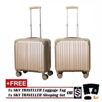 Retro Trolley Case Boarding Box Trunk Box Ultra-light Luggage Password Lock 18Inch - Gold
