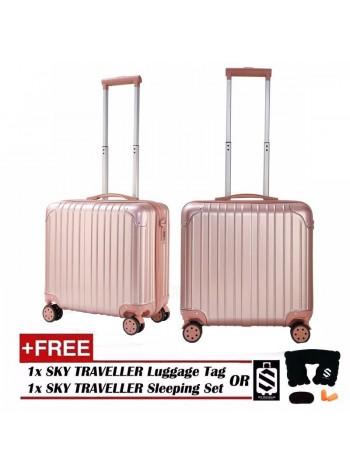 Retro Trolley Case Boarding Box Trunk Box Ultra-light Luggage Password Lock 18Inch - RoseGold