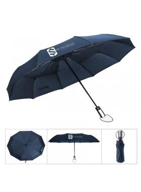 Automatic Folding Telescopic Umbrella Windproof Reinforced Ribs Travel Outdoor Umbrella - Blue