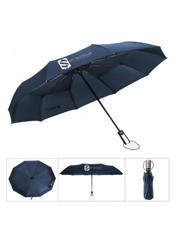 Automatic Folding Telescopic Umbrella Windproof Reinforced Ribs Travel Outdoor Umbrella - Blue