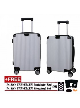 Portrait Stripe Luggage Rolling Luggage Spinner Travel Suitcase With Protect Cover 20Inch - White