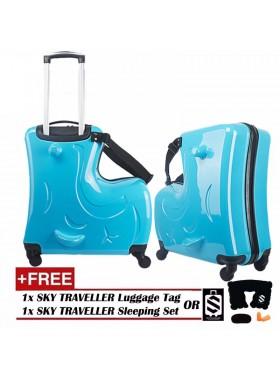 Children Kids Luggage 20Inch Trolley Case Caster Pull Rod Box Spinner Rolling Luggage - Blue