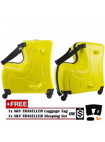 Children Kids Luggage 20Inch Trolley Case Caster Pull Rod Box Spinner Rolling Luggage - Yellow