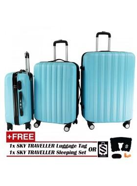Big Stripe 3-In-1 Ultralight Luggage Set - Sky Blue