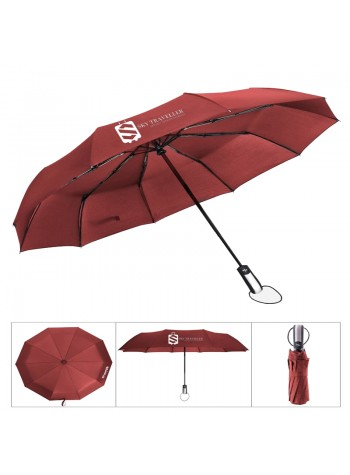 Automatic Folding Telescopic Umbrella Windproof Reinforced Ribs Travel Outdoor Umbrella - Red