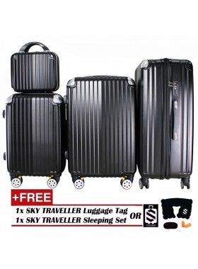 4-In-1 Luxurious Expandable ABS With 8 Wheels Universal Spinner - Black