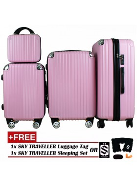 4-In-1 Luxurious Expandable ABS With 8 Wheels Universal Spinner - Pink