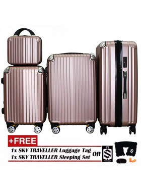 4-In-1 Luxurious Expandable ABS With 8 Wheels Universal Spinner - RoseGold