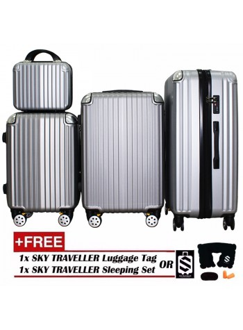 4-In-1 Luxurious Expandable ABS With 8 Wheels Universal Spinner - Sliver