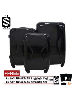 High Quality 3-In-1 Glossy Surface Premium Luggage Set With 8 Wheels - Black