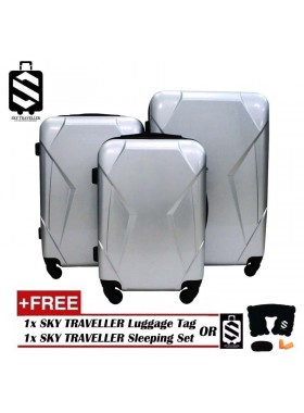 High Quality 3-In-1 Glossy Surface Premium Luggage Set With 8 Wheels - Silver