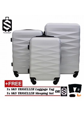 High Quality 3-in-1 ABS Premium Abstract Pattern Luggage Set With 8 Wheels - Silver