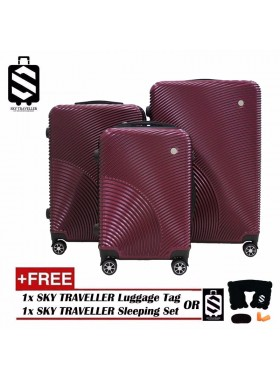 G-Series Premium 3D Narrow Curve Line Texture Surface 3 in 1 Luggage Set With TSA Lock - Burgundy