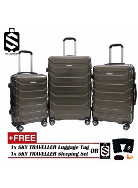 G-Series Premium 3D Wide Horizontal Curve Line Texture Surface 3-in-1 Luggage Set With TSA Lock - Bronze
