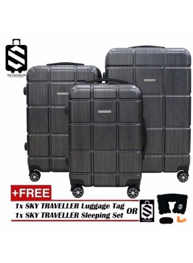 G-Series Premium 2D Silver Pinstripe Line Texture Surface 3-in-1 Luggage Set With TSA Lock - Black