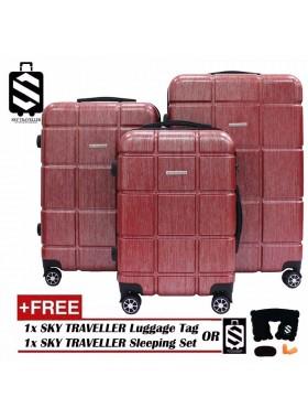 G-Series Premium 2D Silver Pinstripe Line Texture Surface 3-in-1 Luggage Set With TSA Lock - Red