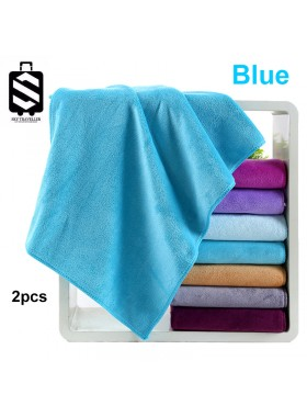 SKY324 2pcs Super Absorbent Car Wash Microfiber Towel Car Cleaning Drying Cloth Large Size Car Care Cloth Detailing Towel (75cm x 35cm) - Blue