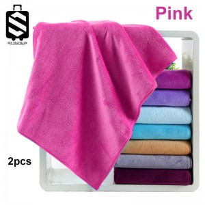 SKY324 2pcs Super Absorbent Car Wash Microfiber Towel Car Cleaning Drying Cloth Large Size Car Care Cloth Detailing Towel (75cm x 35cm) - Pink